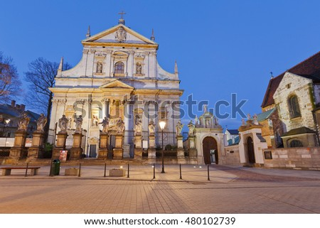 Krakow, Poland - April 03, 2015: Square in the old town of Krakow, Poland.