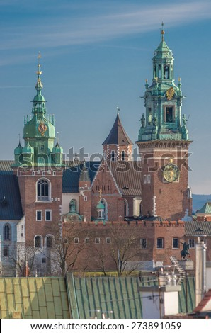 Krakow, Poland, cathedral on the Wawel hill seen from the Town Hall tower - stock photo