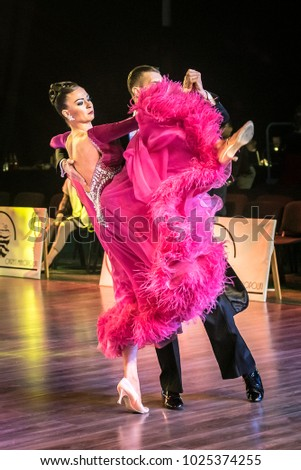 Krakow, Poland - December 10, 2017 - Wieczysty Cup Dance Competition. National Ballroom Dance Tournament Wieczysty Cup in Krakow