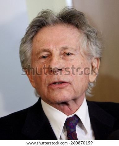 KRAKOW, POLAND - FEB 25, 2015: Roman Polanski in court in Cracow.The court is to decide whether to extradite Polanski to the USA for sentencing on charges that the raped a 13-year old girl in 1977  - stock photo