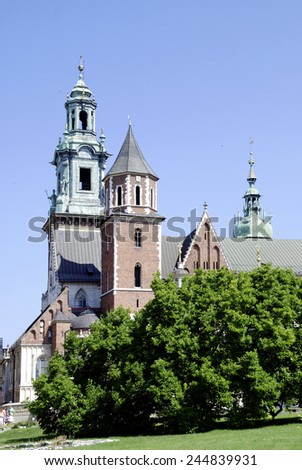Krakow, Poland - July 14, 2014: Cathedral and Chapel as part of Royal Castle at Wawel Hill of Krakow in Poland.