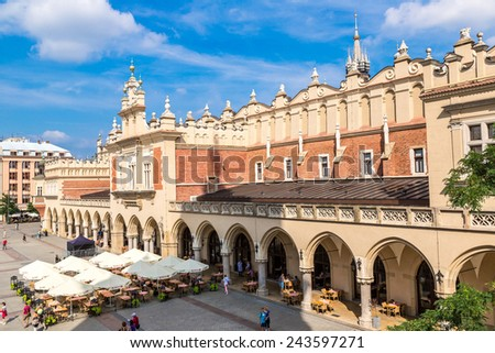 KRAKOW, POLAND - JULY 26: Market Square in a historical part of Krakow, Poland on July 26, 2014. Krakow is one of the oldest cities in Poland.