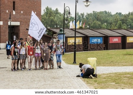 KRAKOW, POLAND - JULY 25, 2016: Pilgrims in John Paul II Centre named The Have No Fear during World Youth Day, an international Catholic event focused on faith and youth in Krakow, Poland.