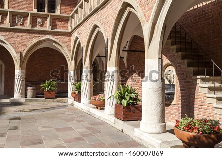 KRAKOW, POLAND - JUNE 26, 2016 :Courtyard  of Collegium Maius, Old Town. It  is the Jagiellonian University's oldest building,dating back to the 14th century.