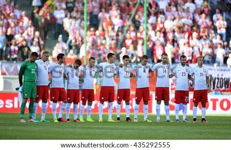 KRAKOW, POLAND - JUNE 06, 2015: EURO 2016 European International Friendly Game Poland - Lituania o/p  Poland - stock photo