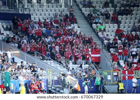 KRAKOW, POLAND - JUNE 21, 2017: European Under-21 Championship Poland 2017, Germany - Denmark o/p Denmark fans