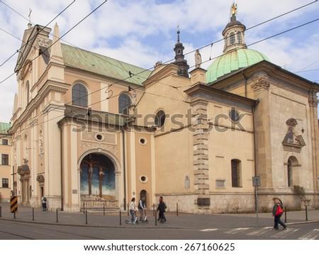 KRAKOW, POLAND - March 29, 2015: Church of the Visitation of the Blessed Virgin Mary, the Carmelite Church in Krakow, Poland - stock photo