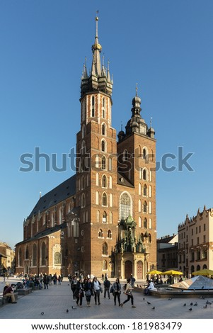 KRAKOW, POLAND - MARCH 13: The gothic St. Mary's Church in historical center of town on March 13, 2014 in Krakow, Poland.  Since 1962 church holding the title of minor basilica in Poland.