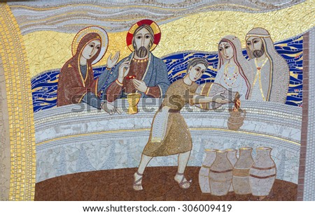 KRAKOW, POLAND - MAY 31, 2015: Cracow; Lagiewniki - The centre of Pope John Paul II. The miracle in Galilean Cana - the mosaic on the church wall - stock photo