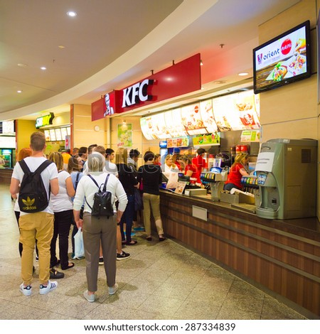 KRAKOW, POLAND - MAY 30, 2015: Food section of the Galeria Krakowska city mall Krakow, Poland. Galeria Krakowska has 270 specialty shops, cafes, and restaurants