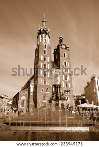 Krakow, Poland - May 15, 2013: The Main Market Square in Cracow Old Town