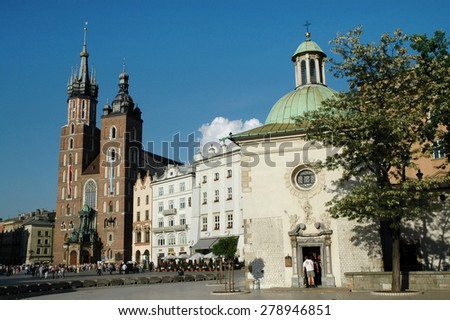 KRAKOW, POLAND - MAY 29: Tourist visiting the Old Town of Krakow, one of Europe's most beautiful historical centers, home of Poland's political life from 1038. On May 29, 2005 in Krakow, Poland