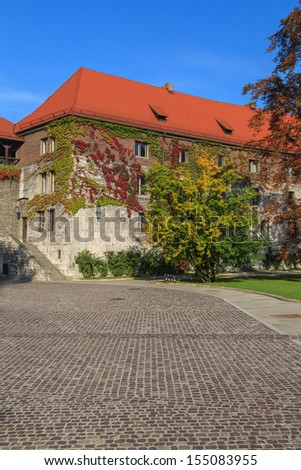 Krakow, Poland. Wawel Castle with the blue sky in the background - stock photo