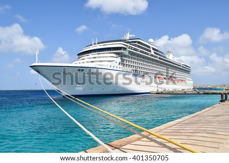 KRALENDIJK, BONAIRE : MAR 25, 2016 : Cruise Ship Riviera (Oceania Cruises) docked in port of Kralendijk in Bonaire, Netherlands Antilles on March 25th 2016. - stock photo