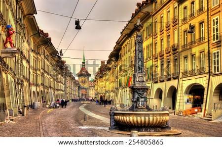 Kramgasse street in the Old City of Bern - UNESCO site in Switzerland - stock photo