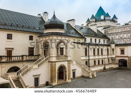 Krasiczyn, Poland - July 17, 2016: Renaissance castle in Krasiczyn in southeastern Poland - stock photo