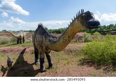 KRASIEJOW, POLAND - 29 April 2015 JuraPark, Models of dinosaurs in open-air museum. Krasiejow, Poland. - stock photo