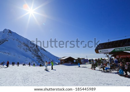 "Krasnaya Polyana. Russia - 04 February 2014. Mark 2200 meters above sea level, the upper station of the ropeway ski resort ""mountain carousel"". - stock photo"