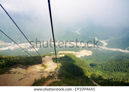 Krasnaya Polyana Sochi. View from the cable car cabins. - stock photo