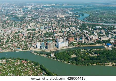 Krasnodar city and Kuban river, Russia - stock photo
