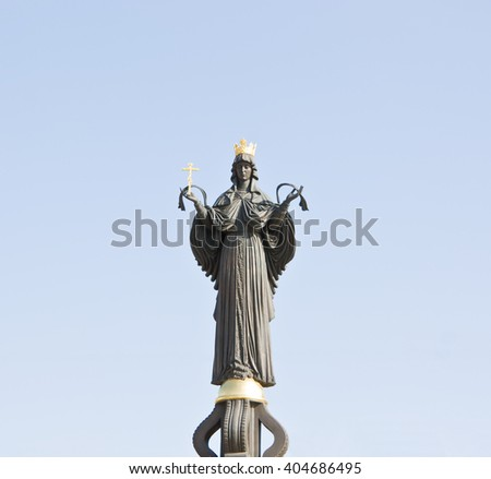 KRASNODAR, RUSSIA-MARCH 25, 2010: Monument of holy GreatMartyress Catherine.  Holy GreatMartyress Catherine is patron of the Krasnodar city. - stock photo