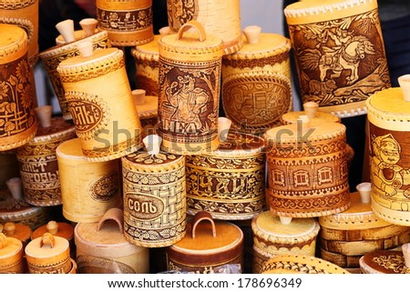 KRASNODAR, RUSSIA - SEPTEMBER 28: Bark jars for seasoning at the fair, Krasnodar city day