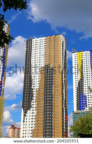 KRASNOGORSK, RUSSIA - JULY 05: Residential houses in Krasnogorsk on July 05, 2014 in Krasnogorsk, Russia