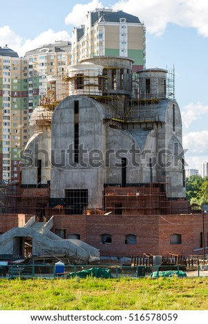 Krasnogorsk, Russia - July 09.2016. The construction of St. Nicholas Church in floodplain Pavshinskaya