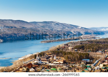 Krasnoyarsk, Russia - April 2, 2015: excursion to the Uspensky man's monastery on the river bank Yenisei