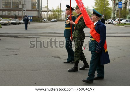 KRASNOYARSK, RUSSIA - MAY 9: Russian veteran of war at military parade in honor of victory in second world war on May 9, 2011 in Krasnoyarsk, Russia