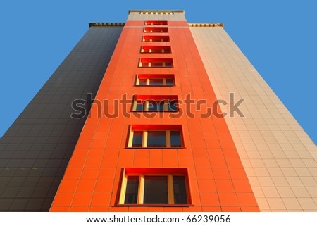 "KRASNOYARSK, RUSSIA-SEPTEMBER 12:Wall of a modern apartment house in the new residential area ""South Coast"", on ""Doors Open Day"" - September 12, 2010 in Krasnoyarsk, Russia. - stock photo"