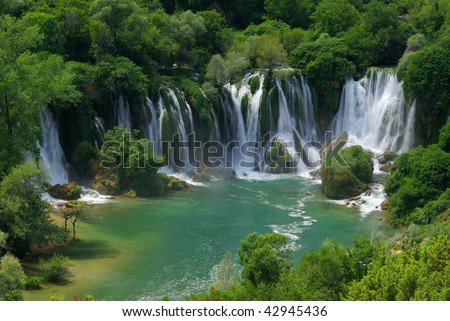 Kravica waterfall - stock photo