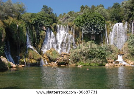Kravice Waterfall on the Trebizat River, Bosnia and Herzegovina - stock photo