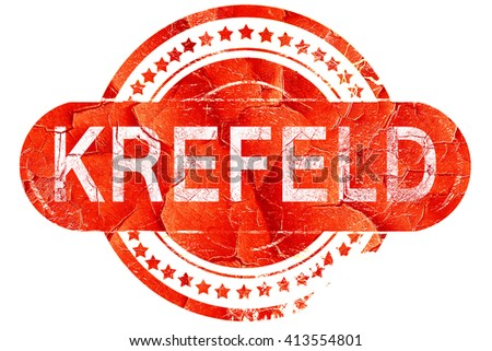 Krefeld, vintage old stamp with rough lines and edges