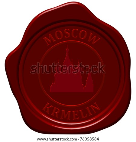 Kremlin cathedral. Sealing wax stamp for design use. - stock photo
