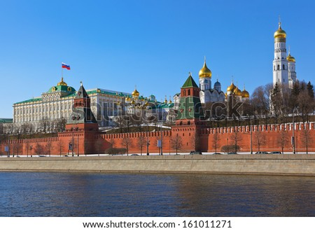 Kremlin in Moscow (Russia) at winter - stock photo