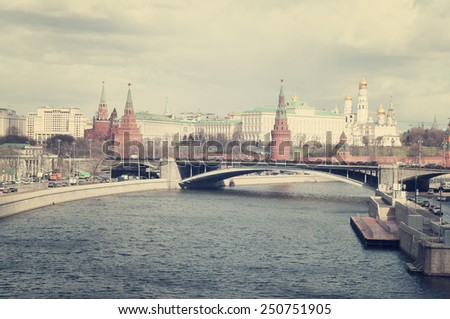 Kremlin's tower in Moscow and Moscow river, Russia - stock photo