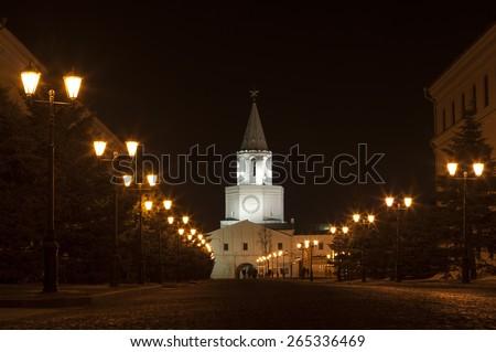 Kremlin street at night, Kazan Kremlin, Kazan, Russia - stock photo