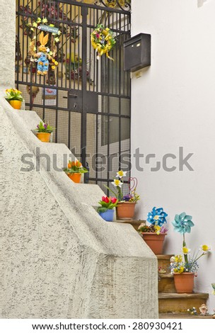 KREMS, AUSTRIA - MARCH 21: Easter decorations outside a house on March 21, 2015 in Krems, Austria. Easter is a festival and holiday celebrating the story of Jesus Christ's resurrection from the dead. - stock photo