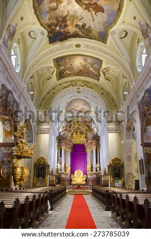 KREMS, AUSTRIA - MARCH 21: interior of St Veit Parish Church on March 21, 2015 in Krems, Austria. The Church was built in the early 17th Century.  - stock photo
