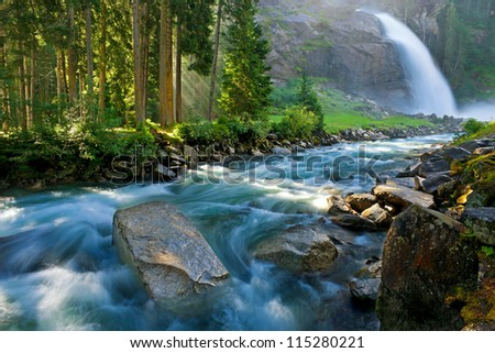 Krimmler (Krimml) waterfall. Highest fall in Austria (Tirol) - Alps beautiful mountain, Hohe Tauern national park - stock photo
