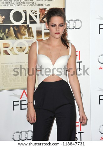 "Kristen Stewart at the AFI Fest premiere of her movie ""On The Road"" at Grauman's Chinese Theatre, Hollywood. November 3, 2012  Los Angeles, CA Picture: Paul Smith - stock photo"