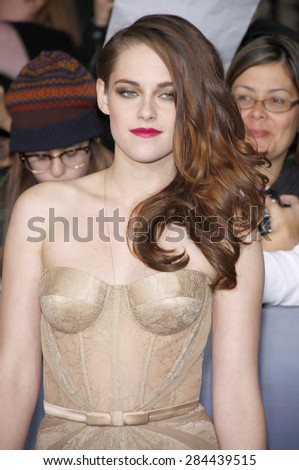 Kristen Stewart at the Los Angeles premiere of 'The Twilight Saga: Breaking Dawn - Part 2' held at the Nokia Theatre L.A. Live in Los Angeles on November 12, 2012.  - stock photo