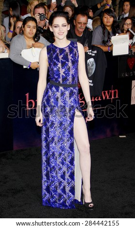 Kristen Stewart at the Los Angeles premiere of 'The Twilight Saga: Breaking Dawn Part 1' held at the Nokia Theatre L.A. Live in Los Angeles on November 14, 2011.  - stock photo