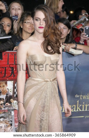 "Kristen Stewart at the Los Angeles Premiere of ""The Twilight Saga: Breaking Dawn - Part 2"" held at the Nokia L.A. Live Theatre in Los Angeles, USA on November 12, 2012.  - stock photo"