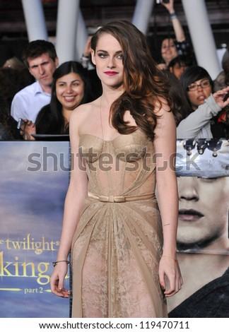 "Kristen Stewart at the world premiere of her movie ""The Twilight Saga: Breaking Dawn - Part 2"" at the Nokia Theatre LA Live. November 12, 2012  Los Angeles, CA Picture: Paul Smith - stock photo"