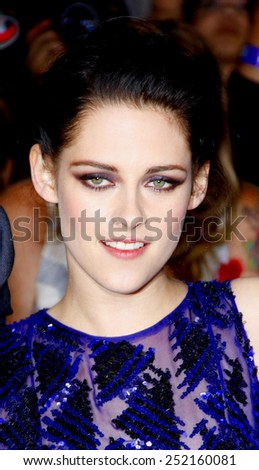 "Kristen Stewart at the World Premiere of ""The Twilight Saga: Breaking Dawn Part 1"" held at Nokia Theatre L.A. Live in Los Angeles, California, United States on November 14, 2011.  - stock photo"