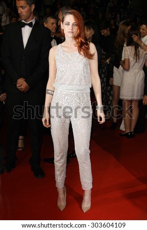 Kristen Stewart attends 'Sils Maria' (Clouds of Sils Maria) film screening in competition during the 67th Cannes Film Festival in Cannes, France on May 23, 2014. - stock photo