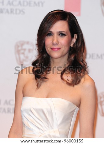 Kristen Wiig in The Winners Room at the 2012 BAFTA's, Royal Opera House Covent Garden, London. 12/02/2012 Picture by: Simon Burchell / Featureflash