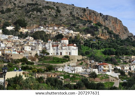 Kritsa, small rural village, famous for producing world's best olive oil, in the heart of Crete island, Greece - stock photo